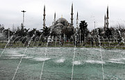 Muslim Posters - Blue Mosque Fountain Poster by John Rizzuto