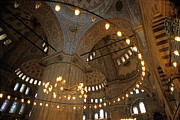 Blue Mosque Interior Print by Sami Sarkis