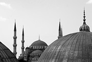 Black And White Photography Metal Prints - Blue Mosque, Istanbul Metal Print by Dave Lansley