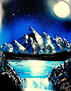 Moonlit Night Posters - Blue Mountain E Poster by Greg Moores