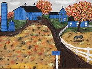 Board Fence Prints - Blue Mountain Farm Print by Jeffrey Koss