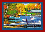 Docked Boats Mixed Media Posters - Blue Mountain Lake - Boat Docks 2 Poster by Steve Ohlsen