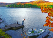 Boating Digital Art - Blue Mountain Lake 12 - Tourists on Dock by Steve Ohlsen
