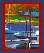Docked Boats Mixed Media Posters - Blue Mountain Lake 5 - Boat Docks Poster by Steve Ohlsen