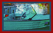 Docked Boats Mixed Media Posters - Blue Mountain Lake 6 - Old Boat Poster by Steve Ohlsen