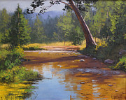 Creek Paintings - Blue Mountains Coxs River by Graham Gercken