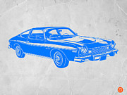 Whimsical Digital Art Posters - Blue Muscle Car Poster by Irina  March