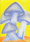 Mushroom Pastels - Blue Mushrooms by William Burgess