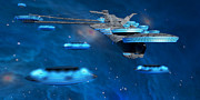 Starcruiser Metal Prints - Blue Nebula Expanse Metal Print by Corey Ford