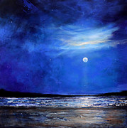 Minimalist Paintings - Blue Night Light by Toni Grote