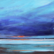 Minimalist Paintings - Blue Night Sail by Toni Grote