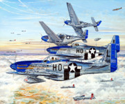 P51 Mustang Drawings Posters - Blue Nosed Bastards of Bodney Poster by Charles Taylor