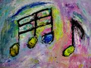 Music Theme Paintings - Blue Note by Anita Burgermeister