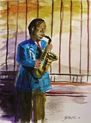 Player Drawings Posters - Blue Note Player Poster by John  Williams