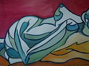 Nudes Painting Originals - Blue Nude by Aleksandra Buha