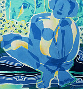 Diane Fine Metal Prints - Blue Nude Metal Print by Diane Fine