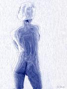 Female Nudes Prints - Blue Nude Print by Joe Bonita