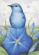 Morning Glory Art - Blue On Blue by Amy S Turner