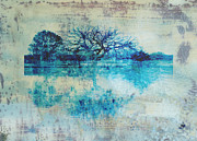 Horizontal Abstract Landscape Prints - Blue on Blue Print by Ann Powell