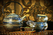 Variation Art - Blue oriental teapot with cups  by Sandra Cunningham