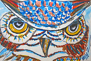 Birds Of Prey Mixed Media Prints - Blue Owl Print by Kelly     ZumBerge