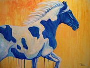 Contemporary Horse Framed Prints - Blue Paint Framed Print by Theresa Paden