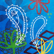 Red Leaf Mixed Media Posters - Blue Paisley Garden Poster by Linda Woods