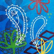 Blue Paisley Garden Print by Linda Woods