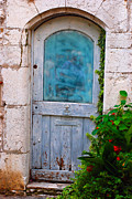 Saint Paul De Vence Framed Prints - Blue-Paned Door Framed Print by Andrea Simon