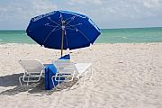 Miami Digital Art Originals - Blue Paradise Umbrella by Rob Hans
