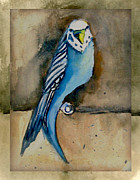 Parakeet Digital Art Posters - Blue Parakeet Poster by Mindy Newman