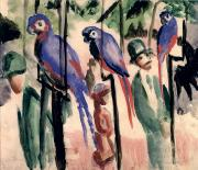 Parrots Prints - Blue Parrots Print by August Macke