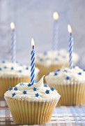 Special Occasion Posters - Blue Party Cupcakes Poster by Christopher and Amanda Elwell