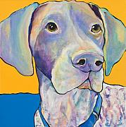 Yellow Dogs Framed Prints - Blue Framed Print by Pat Saunders-White