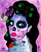 Sugar Skull Prints - Blue Peepers Print by B Marie