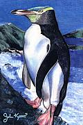 John Keaton Art - Blue Penguin by John Keaton