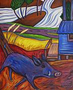 Wild Boar Paintings - Blue Pig By Blue Hut by Dianne  Connolly