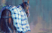 Racehorse Paintings - Blue Plaid by Kimberly Santini