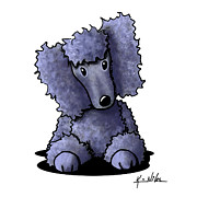 Cartoon Art Posters - Blue Poodle Poster by Kim Niles