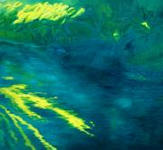 Golden Sunlight Paintings - Blue Pool off Ulaino Road by Fay Biegun - Printscapes