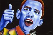Microphone Painting Framed Prints - Blue pop President Barack Obama Framed Print by Nannette Harris