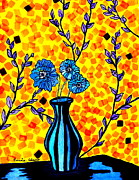 Abstract Vase Flower Print Posters - Blue Poppys Poster by Connie Valasco
