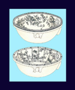 Mahogany Mixed Media Posters - Blue Porcelain Bowls Two Poster by Eric Kempson