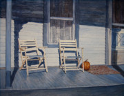 Egg Tempera Art - Blue Porch with Chairs by John Entrekin