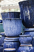 Azure Prints - Blue Pots for Sale Print by Teresa Mucha