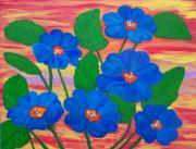 Primroses Paintings - Blue Primroses by Elizabeth Janus