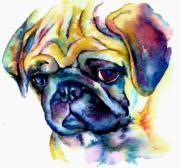 Fawn Pug Paintings - Blue Pug by Christy  Freeman