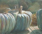 Pumpkins Paintings - Blue Pumpkins by Linda Eades Blackburn