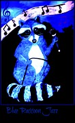 Raccoon Art - Blue Raccoon Jazz by Sherry Gombert