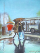 Umbrella Mixed Media Prints - Blue rain Print by Dan Haraga